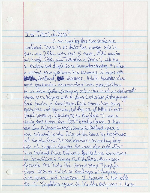 Global Warming Essay In English An Essay Written In Prison By Tupac Shakur Has Smashed Its Estimate To  Fetch More Than  At Goldin Auctions The Fourpage Handwritten Essay   Compare And Contrast Essay Examples High School also Examples Of Argumentative Thesis Statements For Essays Tupac Shakurs Thug Life Essay Tops  At Goldin Auctions English Essay Structure