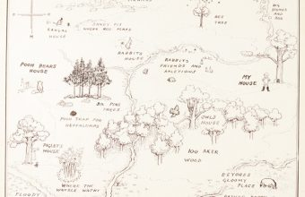 EH Shepard's original map of Hundred Acre Wood