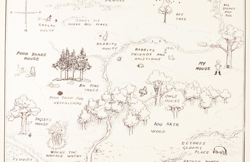 EH Shepard's original map of Hundred Acre Wood