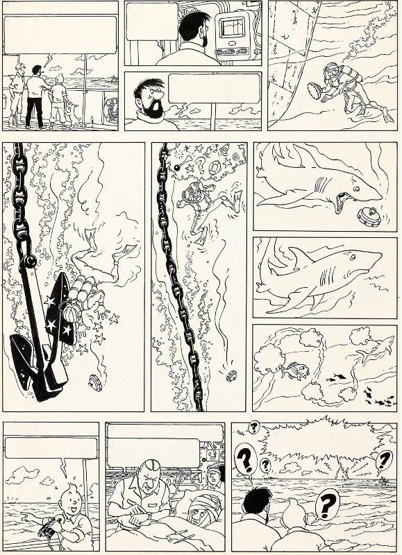 Herge's original Tintin artwork