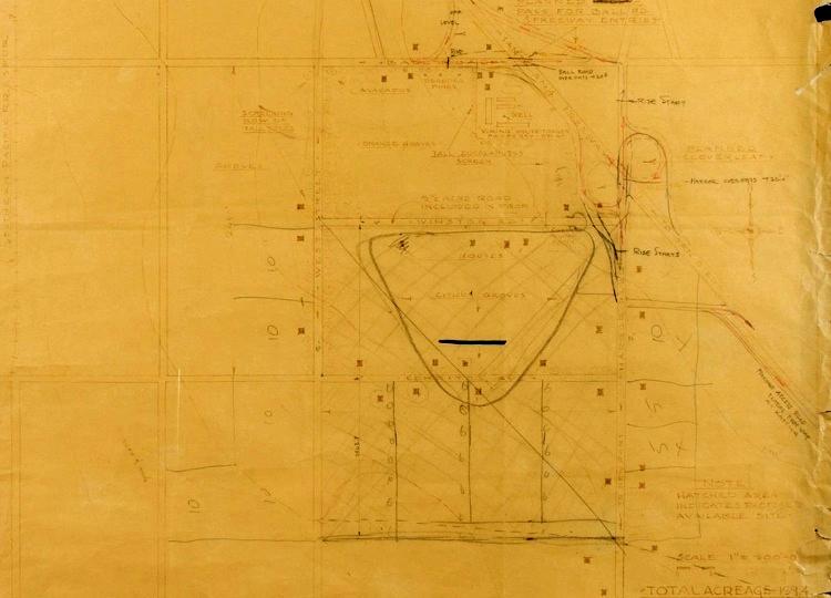 Walt Disney's original sketch outlining the boundaries of Disneyland