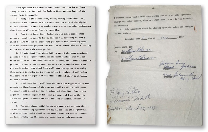 The Jackson Five's first contract with Steeltown Records, signed by their father Joe in November 1967