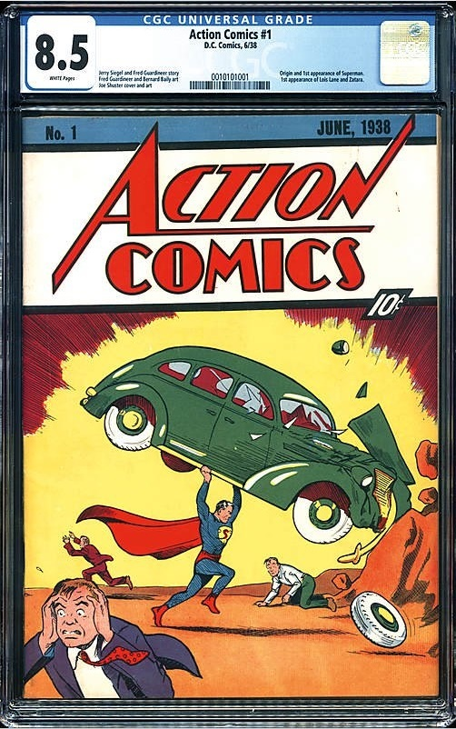 Action Comics #1, graded CGC 8.5 with white pages