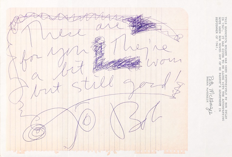 Bob Dylan's note to the McKenzies, accompanying his harmonica