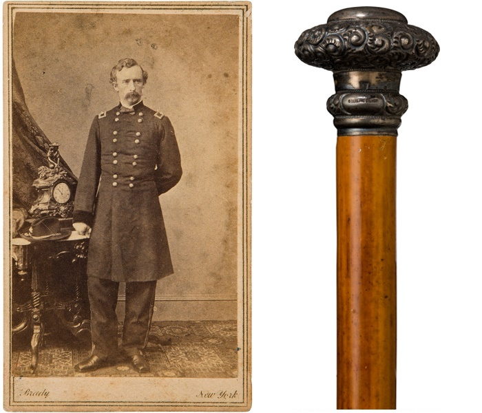 signed General Custer portrait and walking stick