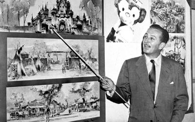 Walt Disney shows off plans for Disneyland in 1953