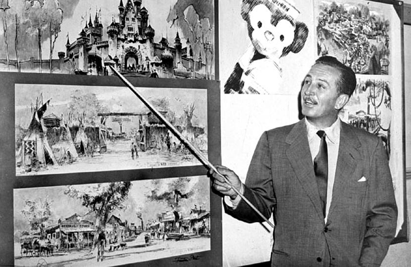 Walt Disney shows off plans for Disneyland in 1953