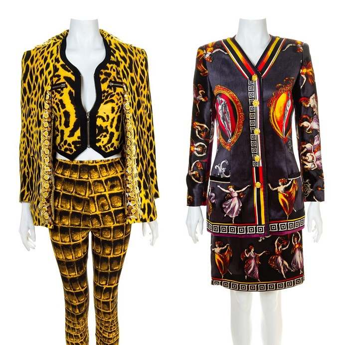 "A Gianni Versace Animal Print Ensemble, Spring/Summer 1992, (est. $5,000 - $7,000) and a Printed Silk Velvet ""Canova"" Skirt Suit, Autumn/Winter 1991-92, (est. $6,000 - $8,000)"