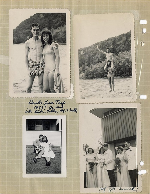 The archive includes photographs of Hefner with his friends and his first wife Millie