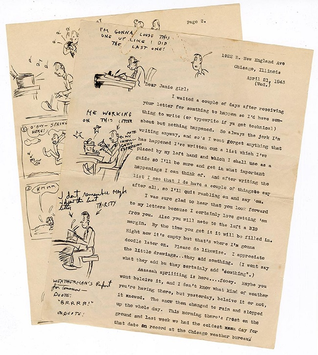 One of Hugh Hefner's teenage letters, illustrated with cartoons in the margins