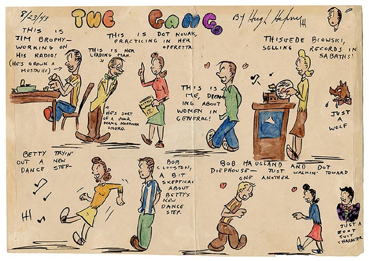 One of Hefner's cartoon strips, depicting his gang of high school friends back in 1943