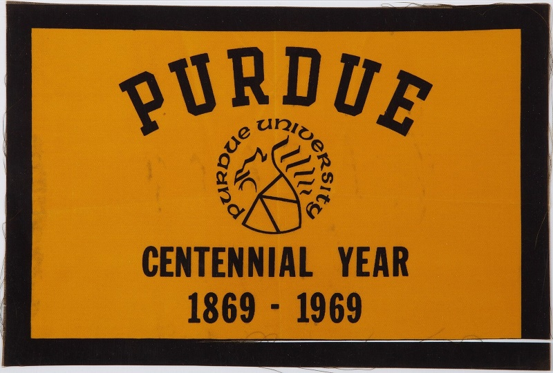 A flag from Armstrong's alma mater Purdue University, flown aboard Apollo 11