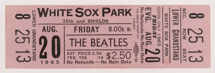 An unused ticket to The Beatles' concert at White Sox Park in Chicago on August 20, 1965