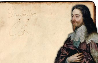 "Charles I's inscription in the poetry book, which translates as ""While I breathe, I hope"""