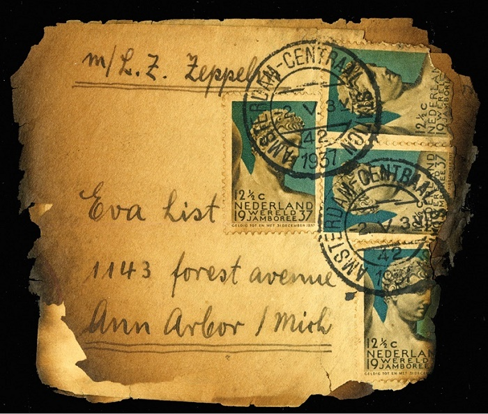 The burnt letter which survived the Hindenburg crash, en-route from Amsterdam to Ann Arbour, Michigan