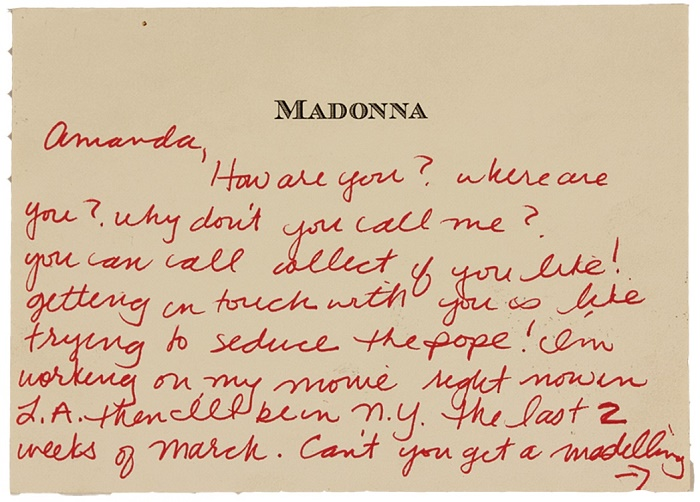 The romantic note is handwritten on Madonna's personal stationary