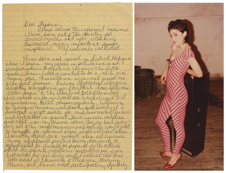 Madonna's 1979 letter to film-maker Stephen Lewicki, whcih also included a color photograph