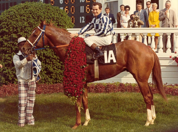 Secretariat with jockey Ron Turcotte following the Derby victory