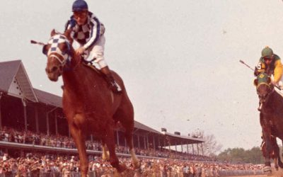 Secretariat crosses the finish line at the 1973 Kentucky Derby, setting a record that still stands to this day