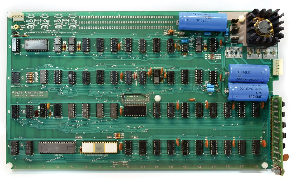 The original Apple-1 motherboard, unmodidifed since it was hand-built in Steve Jobs' family garage in 1976