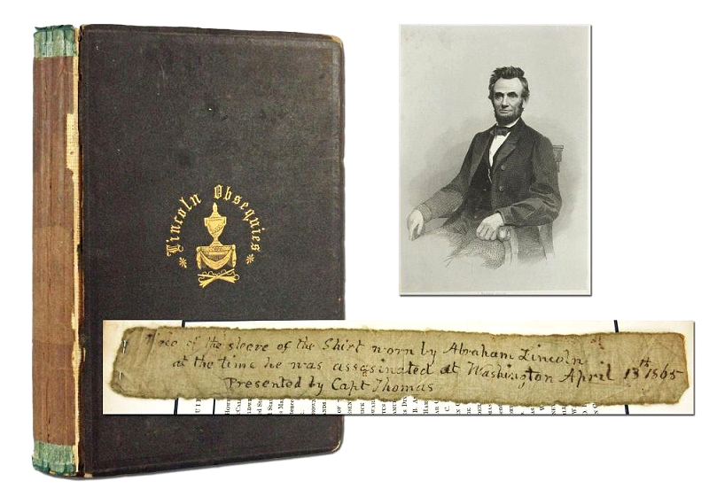 The bloodied fragment, inscribed by a former owner and kept safely pinned inside a copy of Lincoln's funeral rights