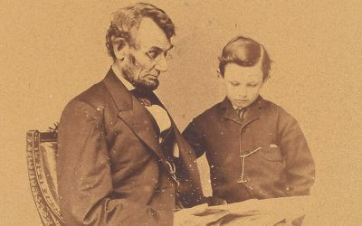 The iconic portrait of Abraham Lincoln and his son Tad, taken in February 1864