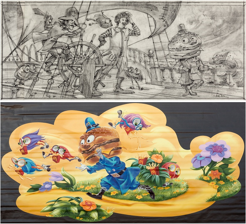 Wes Cook produced stunning concept sketches for artwork, which were then turned intto hand-painted murals and displayed in restaurants around the world