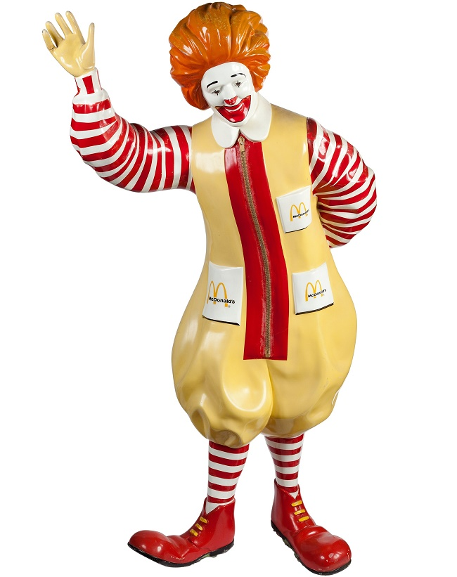 The original Ronald McDonald statue, which stood in the entrance to the world's first McDonaldland playground in California in 1971