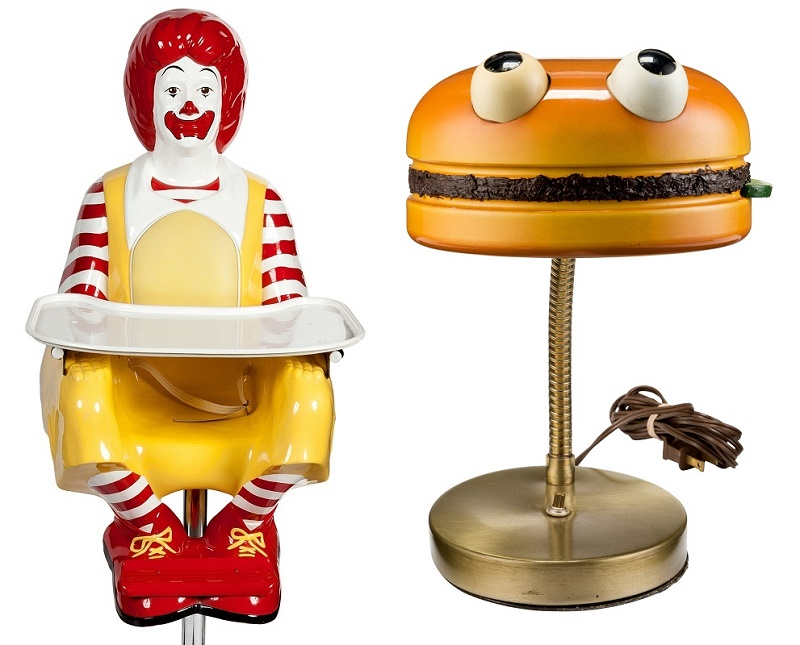 Unique prototypes for a Ronald McDonald high chair and a Hamburger desk lamp, neither of which ever made it into production