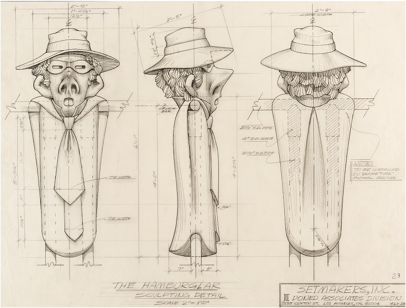 Original Setmakers design sketches for the Hamburglar swing which stood in McDonaldland playgrounds across America