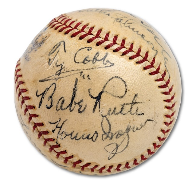 The ball featured a 'holy trinity' of Ruth, Wagner and Cobb signatures on a single panel