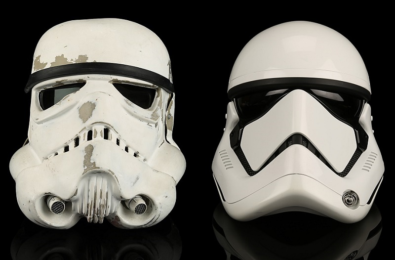 Imperial Stormtrooper helmets from Star Wars: A New Hope and Star Wars: The Last Jedi