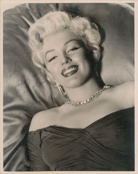 This Marilyn Monroe photograph, signed to her friend and choreographer Jack Cole, achieved the sale's second-highest price