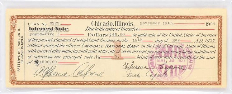 A loan document signed twice by the Chicago mob boss Al Capone
