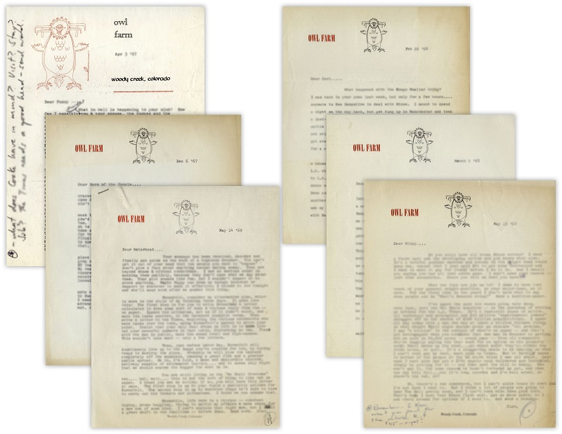 Several of the letters are written on stationary from Owl Farm, Thompson's famous compound in Woody Creek, Colorado where he lived for many years - and where he committed suicide in 2005