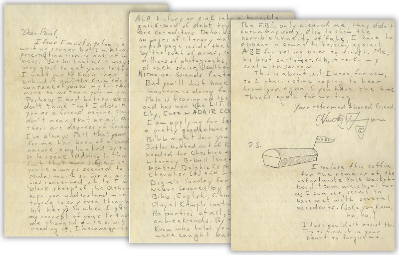 Thomspon's letters to his friend Paul Semonin span almost 20 years, from 1955 until 1974