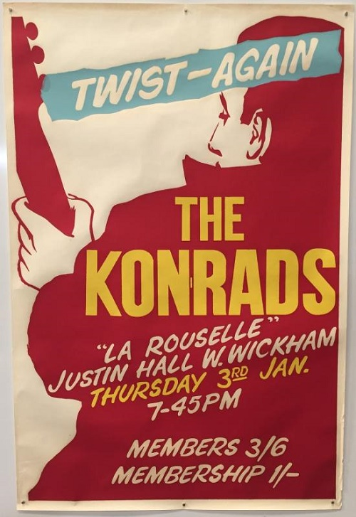 A poster for a Konrads show in January 1963, believed to be the earliest David Bowie concert poster in existence