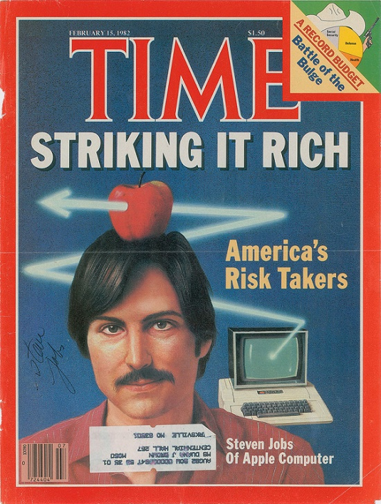 A rare Steve Jobs signature on a 1982 copy of Time Magazine