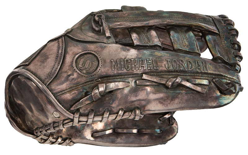 Jordan also recieved this unique silver-coated catcher's mitt - although his baseball career ended just a few weeks later