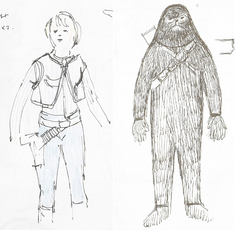 Mollo's original costume sketches for Luke Skywalker and Chewbacca