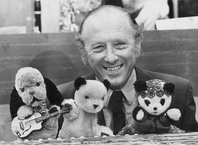 Harry Corbett, pictured in the 1960s with Sooty and his co-stars Sweep the Dog and Soo the Panda