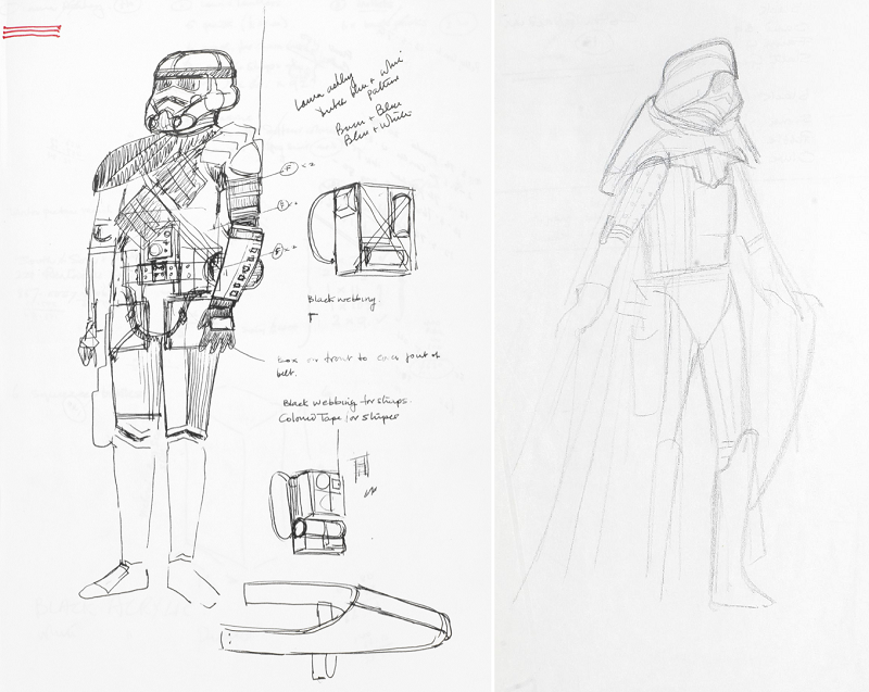 Concept designs for an Imperial Stormtrooper and Darth Vader