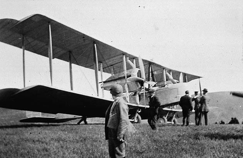 John Alcock and Arthur Brown's historic Vickers Vimy, the first aircraft to fly non-stop across the Atlantic in June 1919.