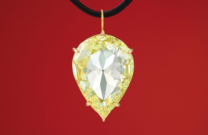 The 24.04-carat, pear-shaped, canary yellow Moon of Baroda diamond