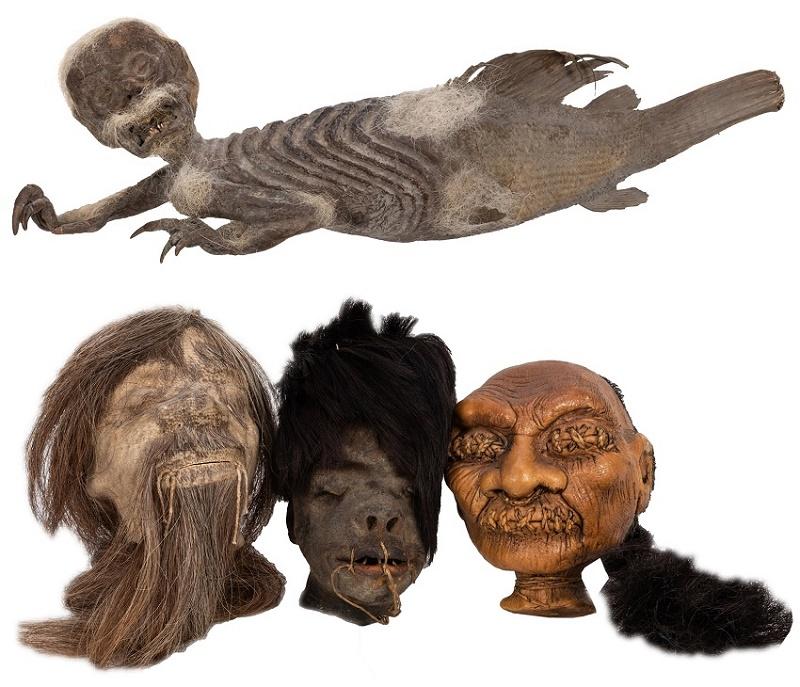 A 'genuine' Fiji Mermaid (above, est. $300 - $400) and a set of Tsantsa shrunken heads (below, est. $200 - $300)