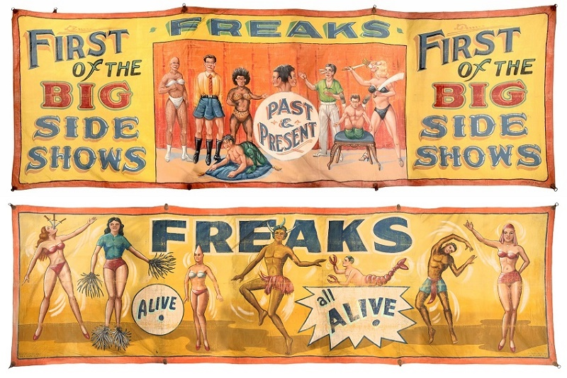 Original hand-painted sideshow banners by Fred Johnson (above, est. $4,000 - $6,000) and Snap Wyatt (below, est. $3,000 - $5,000)