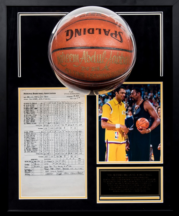 The ball with which Abdul-Jabbar scored his 31,421st point - an NBA record which stands to this day