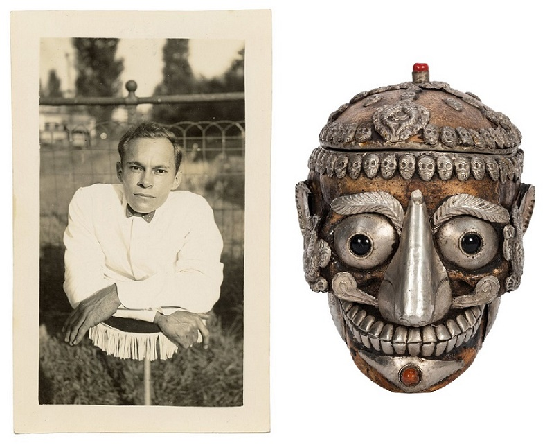 A vintage photograph from the Johnny Eck Archive (left, est. $800 - $1,000) and a decorated Tibetan sacred human skull (right, est. $900 - $1,200)
