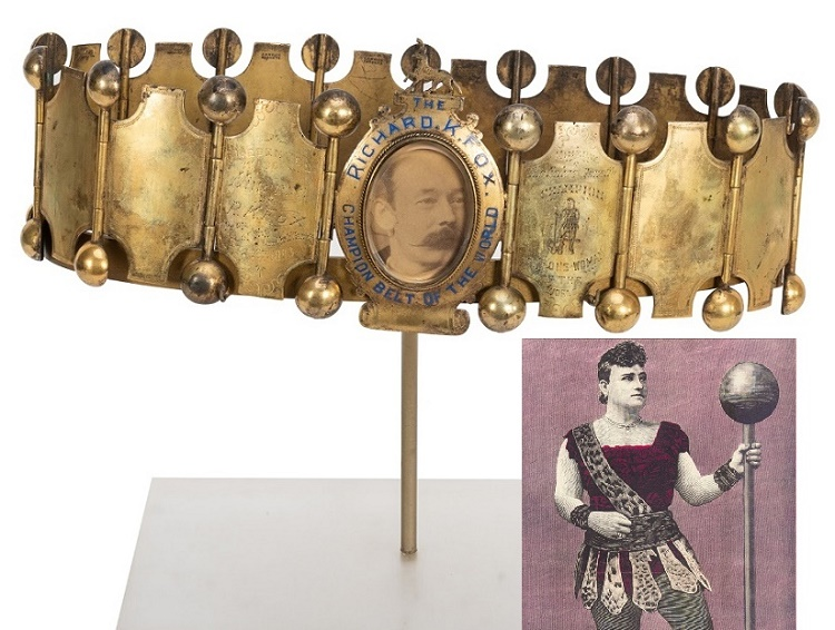 The Champion Strong Woman belt presented to Minerva in 1893
