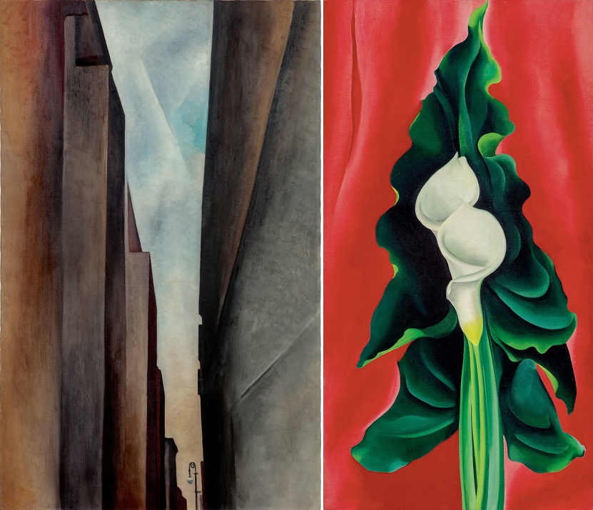 Georgia O'Keeffe's 'A Street (1926), and 'Calla Lilies on Red'